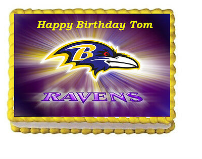 The Baltimore Ravens Party Birthday Edible Icing Cake Topper 1/4 sheet frosting