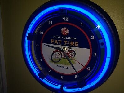 Fat Tire Beer Bar Man Cave Advertising Blue Neon Wall Clock Sign