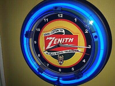 Zenith Radio Repair Store Advertising Man Cave Blue Neon Wall Clock Sign