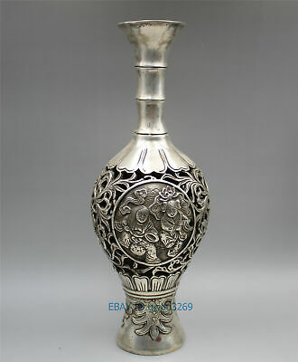 Chinese Tibet silver Hand carved Hollow Flower & child Vase w Qianlong Marks