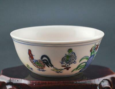 chinese old porcelain hand-painted pastel chicken grain cup /chenghua mark 08705