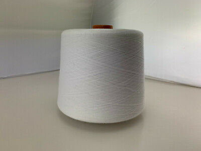 WHITE Cotton Yarn 1kg Cone - Machine Knitting Fiber Arts Embriodery Crafting
