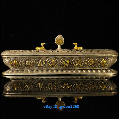 Collection chinese hand carved  Eight Tibetan silver incense burner
