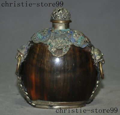 Old China Ox horn Horns Tibet silver Cloisonne Butterfly Lion Head Snuff Bottle