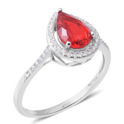 Cubic Zirconia Ring Cttw 2.7 925 Sterling Silver Pear Cubic Zircon Red
