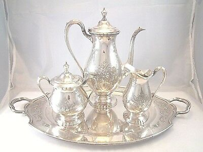 Superb Wilcox Lady Mary Hand Chased Coffee Set Pot Tray Sugar Bowl Creamer