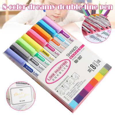 Drawing Double Line Outline Pen Highlighter Marker 8 Colors Pen  For School