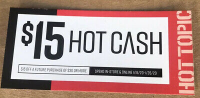 Hot Topic Hot Cash Hottopic.com $15 off $30 January 1/16 To 1/26 CODES EMAILED