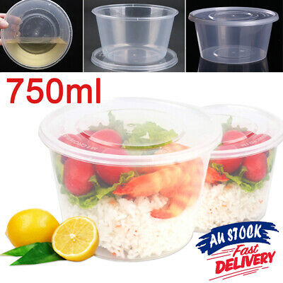 750ml Food Container Lunch Round Lids Storage 100-600 Box Away Plastic Take