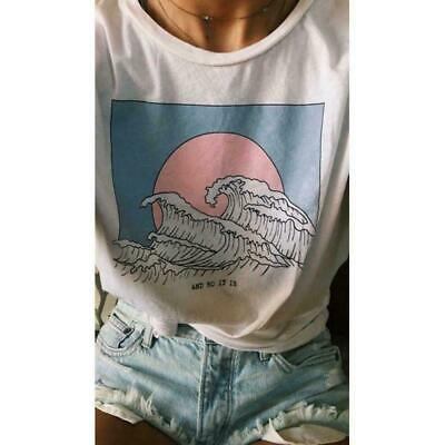 So It Is Ocean Wave Aesthetic T-Shirt Women Tumblr Fashion White B9R3