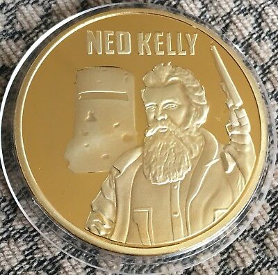 NED KELLY Coin Medallion Finished In 24k Gold Plated 1990 Collectable 40mm