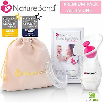 NatureBond Silicone Manual Breast Pump Breastfeeding Milk Saver Suction