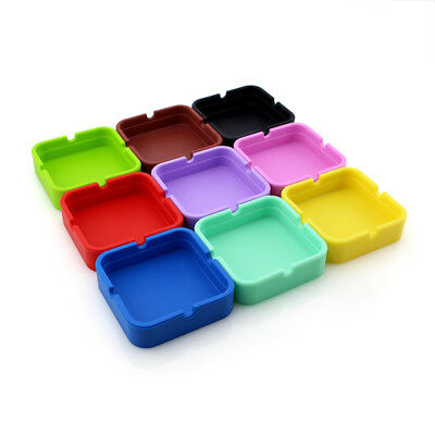 Square Silicone Ashtray Shatterproof Cigar Ash Storage Case Easy Clean Portable