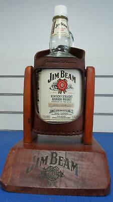 Jim Beam bottle decanter with leather holder (#17719)