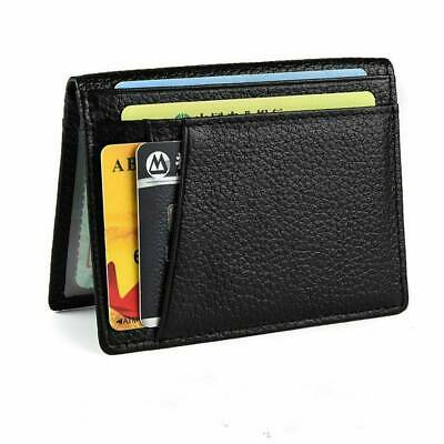 Super Slim Soft Mens Business Wallet Mini Genuine Leather Credit ID Card Holder