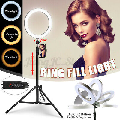 10'' Dimmable LED Ring Light Video Phone Holder Tripod Stand for Youtube Makeup