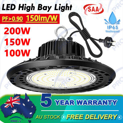 High Bay LED Light 200W 150W 100W UFO Industrial Shed Warehouse Factory Gym Farm