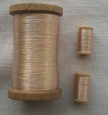Small Wooden Spool of Vintage Silver-Champaign Metallic Round Thread French