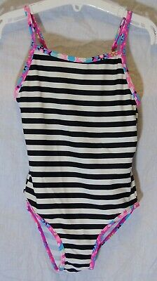 Girls TU Black White Stripe Pink Piping Swimming Costume Swimsuit Age 6 Years