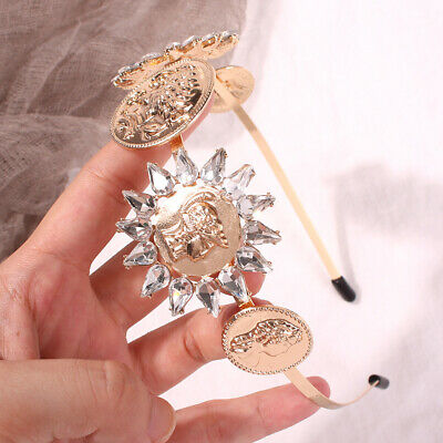 Baroque Ladies Embellished Headband Hairband Jeweled Crown Tiara Coin Party Show