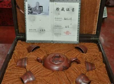 Old Chinese yixing Zisha Pottery Plum blossom Tea set Teapot Tea Pot box cup set