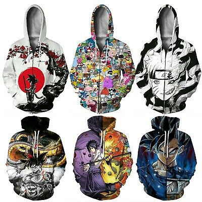 Womens Men Dragon Ball 3D Anime Print Pullover Jumper Jacket Coat Tops Plus Size