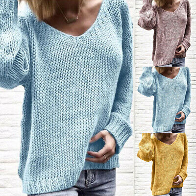 Women Long Sleeve Jumper Sweater Pullover Loose Baggy Oversized Knit Top Blouse