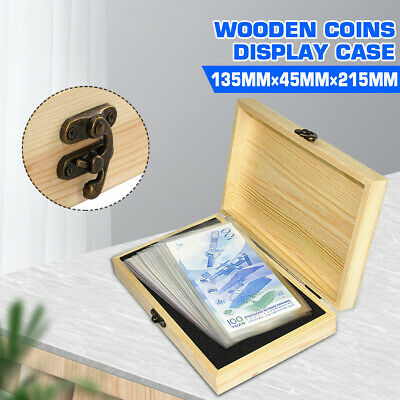 Wooden Coins Display Case Capsule Holder Storage Collection Box w/ 100pcs Gasket