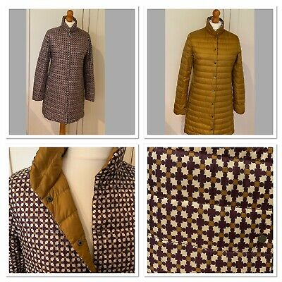 Weekend by Max Mara Reversible, Antique Gold & Purple Quilted Coat, UK 10