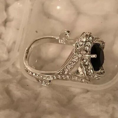Beautiful Silver Colored Ring With Black Stone And Crystals, Size 8