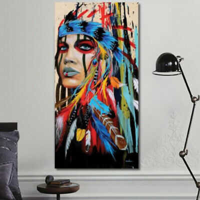 Indian Woman Art Oil Painting Canvas Print Wall Picture Home Office Decor Gift