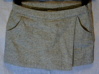 Girls Next Light Grey Sparkly Wool Blend Faux Wrap Skorts Shorts Age 8 Years