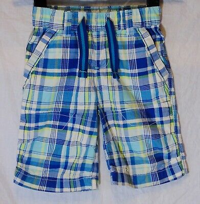 Boys Next Blue White Yellow Check Elasticated Waist Board Shorts Age 5 Years