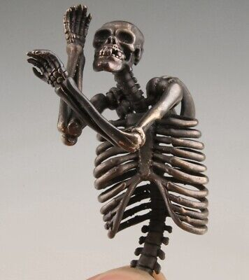 Unique China Old Copper Hand Carved Skeleton Pendant Cool Gift Collec