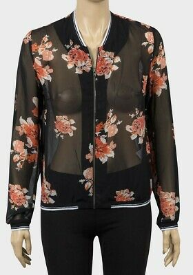 Woman Ladies Bomber Jacket Light Chiffon Black Floral Long Sleeve Ribbed Zipped