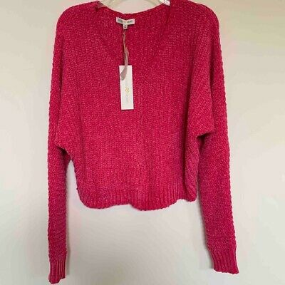 Woven Heart Womens Sweater Pink Chunky Knit Chenille Pullover V-neck Soft XS New