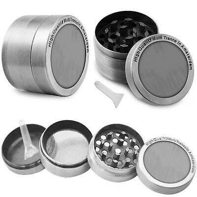 4 piece Herb Grinder Spice Tobacco Smoke Zinc Alloy Crusher- Gunmetal US
