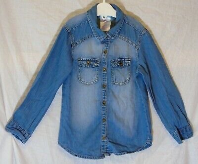 Girls Miss Evie Mid Blue Denim Casual Cowgirl Long Sleeve Shirt Age 4 Years