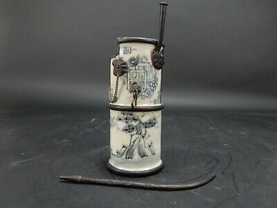Chinese  Hand Painted Porcelain water pipe with Bronze mounts.