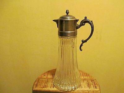 Vintage Claret Jug with silver plated lid Decantor