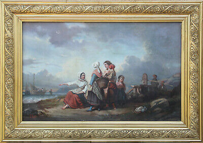 Antique oil painting - old master - realist - sea- framed