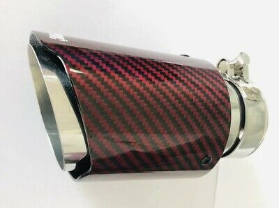"3.5"" Akrapovic Type Red Carbon Fibre Exhaust Tip Tailpipe Stainless Steel"