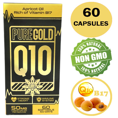CoEnzyme Q10 COQ10 Vit B17 50mg Apricot Oil 60 Capsules Strong Heart Immune