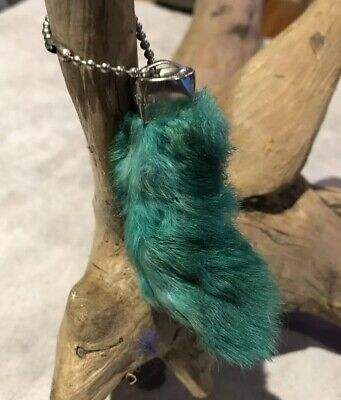New Green Colored Lucky Rex RABBITS FOOT Key Chain Zipper pull ID Charm