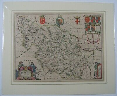 Yorkshire West Riding: antique map by Johan Blaeu, 1645 (1647 edition)