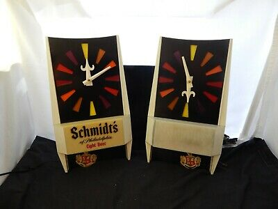 Vintage Beer Hanging Bar Light Clock Schmidt's Of Philadelphia Repair Resrore