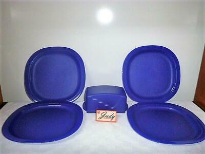 Tupperware 4 Microwave Reheatable Luncheon Plates + Butter Dish ~Tokyo Blue ~NEW