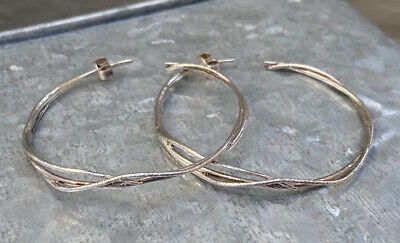 White Metal ( Silver Plated? ) Interesting Design Large Hoop Earrings