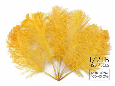 125 Pieces - Golden Yellow Ostrich Feathers Tail Wholesale Centerpiece Carnival