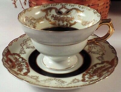 Royal Sealy Fine China Cup & Saucer Japan Generous Gold Design
